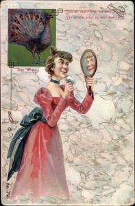 Litho Lass ab vom Putz, sei einmal schlau, Du ähnelst sonst zu sehr dem Pfau, Frau, Handspiegel