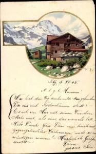 Handgemalt Ak Gebirgslandschaft, Haus, Berghütte