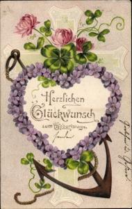 Präge Litho Glückwunsch Geburtstag, Veilchenherz, Kleeblätter, Kreuz, Anker
