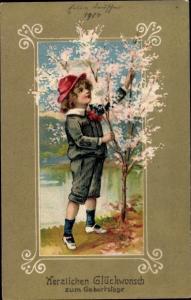 Präge Litho Glückwunsch Geburtstag, Junge, Blütenbaum