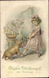 Ak Glückwunsch Geburtstag, Mädchen, Schwein, Blumen