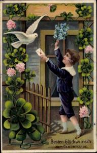 Litho Glückwunsch Geburtstag, Junge, Vergissmeinnicht, Taube, Kleeblätter
