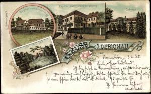 Litho Loebichau Löbichau Thüringen, Post, Materialwarenhandlung, Schloss, Gasthaus grauer Wolf