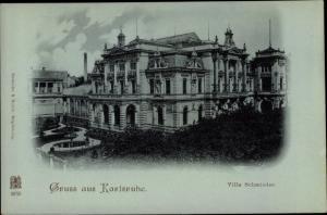 Mondschein Ak Karlsruhe in Baden Württemberg, Villa Schmieder, Nacht