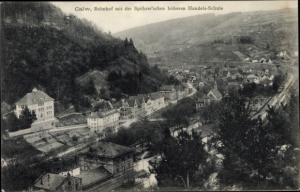 Ak Calw im Nordschwarzwald, Bahnhof mit Handesschule