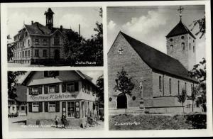Ak Zusenhofen Oberkirch Baden Württemberg, Schulhaus, Kirche, Kaufhaus H. Lebfromm