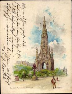 Litho Edinburgh Schottland, The Scott Monument