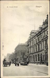 Ak Glasgow Schottland, St Vincent Street, tramway