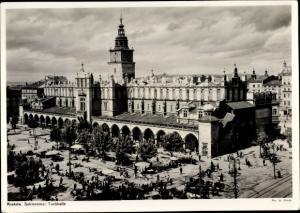 Ak Kraków Krakau Polen, Tuchhalle, Marktstände