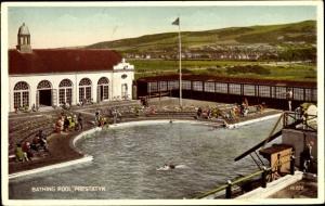 Ak Prestatyn Wales, Bathing Pool, general view, bathers, building, landscape