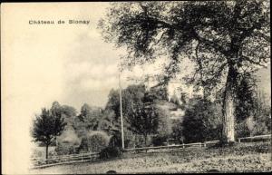 Ak Blonay Vaud Waadt, Château, vue extérieure, arbres