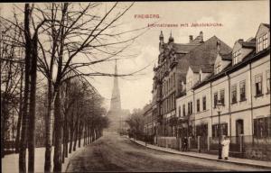 Ak Freiberg in Sachsen, Ortsansicht, Hornstraße mit Jakobikirche