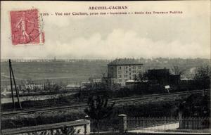 Ak Arcueil Cachan Val de Marne, Vue sur Cachan, prise des Lumieres, Ecole des Travaux Publics