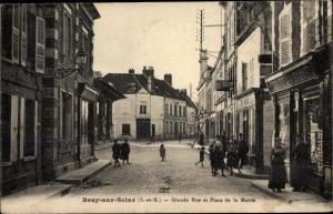 Ak Bray sur Seine Seine et Marne, Grande Rue et Place de la Mairie