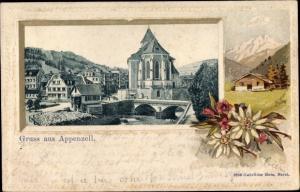 Passepartout Ak Kt Appenzell Innerrhoden Schweiz, Stadtpartie, Edelweiß