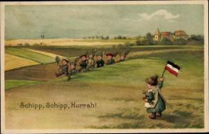Künstler Ak Schipp Schipp, Hurrah, Kinder marschieren mit Schaufeln, I. WK