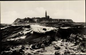 Ak Greifswalder Oie Kröslin Ostsee, Blick zur Insel Leuchtturm
