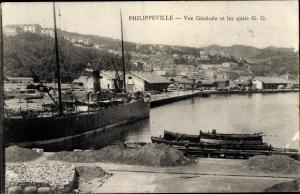 Ak Philippeville Algerien, Vue générale et les quais G.G.