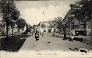 Ak Setif Algerien, La Rue Trajan