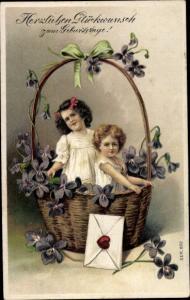 Litho Präge Litho Glückwunsch Geburtstag, Kinder, Weidenkorb, Veilchen