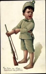Litho Junge in KuK Uniform, Gewehr