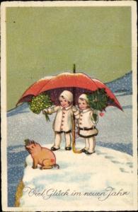 Ak Glückwunsch Neujahr, Kinder, Schirm, Glücksschwein, Kleeblätter