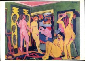 Künstler Ak Kirchner, Ernst Ludwig, Badende im Raum