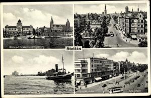 Ak Szczecin Stettin Pommern, Museum, Regierung, Berliner Tor, Paradeplatz, neuer Speicher