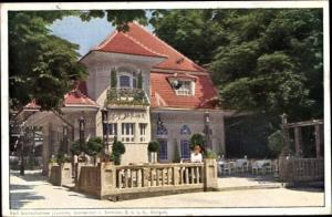 Künstler Ak Stuttgart in Baden Württemberg, Gasthaus, Terrasse, Bauausstellung 1908