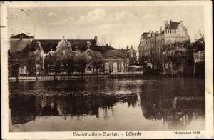 Ak Lübeck in Schleswig Holstein, Stadthallen-Garten