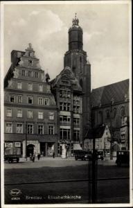 Ak Wrocław Breslau Schlesien, Elisabethkirche