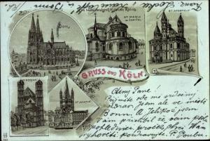 Litho Köln am Rhein, Dom, St. Maria im Capitol, St. Aposteln, St. Martin, St. Gereon