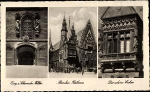 Ak Wrocław Breslau Schlesien, Schweidnitzer Keller, Rathaus, schöner Erker