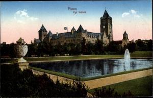 Ak Poznań Posen, Königliches Schloss, Springbrunnen