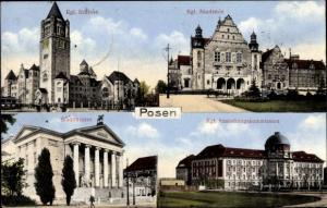 Ak Poznań Posen, Akademie, Ansiedlungskommission, Stadttheater, Schloss