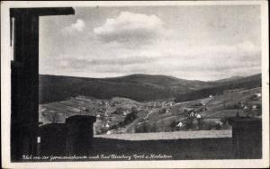 Ak Świeradów Zdrój Bad Flinsberg Schlesien, Blick von der Germaniabaude, Forst, Hochstein