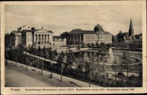 Ak Poznań Posen, Ansiedlungskommission, Stadttheater, Paulikirche