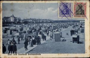 Ak Świnoujście Swinemünde Pommern, Strandpartie, Strandkörbe