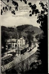Ak Barthmühle Pöhl im Vogtland, Hotel, Bahnhof