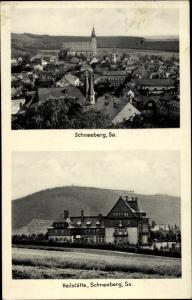 Ak Schneeberg im Erzgebirge, Stadtansicht, Heilstätte