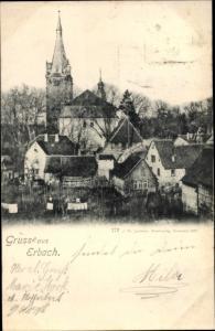 Ak Erbach im Odenwald Hessen, Teilansicht, Kirche