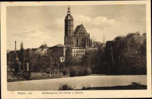 Ak Penig in Sachsen, Muldenpartie mit Kirche und Schule