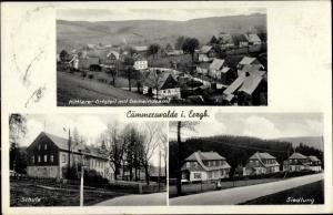 Ak Cämmerswalde Neuhausen Sachsen, Ortsansichten, Mittlerer Ortsteil, Gemeindeamt, Schule, Siedlung
