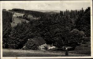 Ak Ansprung Marienberg Sachsen, Gasthaus Hüttstattmühle