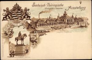 Ganzsachen Litho Leipzig in Sachsen, PP 9 C17 01, Sächs. Thüring. Industrie und Gewerbeausstellung