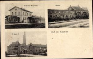 Ak Kapellen Grevenbroich, Bahnhof, Brauerei, Mühle