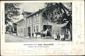 Ak Dauenhof Hohenfelde Schleswig Holstein, Hohenfelder Hof, Johs. Hauschildt, Pferde