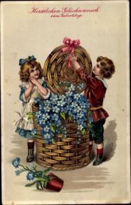 Präge Litho Glückwunsch Geburtstag, Junge, Mädchen, Vergissmeinnicht, Weidenkorb