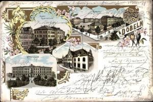Litho Döbeln Sachsen, Realgymnasium, Kasernen, Postamt, Körnerschule, Postamt