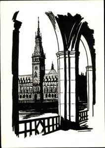 Künstler Ak Hamburg, Blick auf das Rathaus